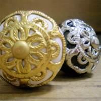 FRENCH Vtg DOOR KNOBS GOLD BRASS/SILVER ANTIQUE FILIGREE ...