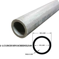 "316 Stainless Steel Pipe 1-1/2 inch x 12"" - SCH 80S (1.9 ..."