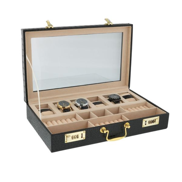 Black Croco Printed 6 Watch Cufflink And Ring Display Box