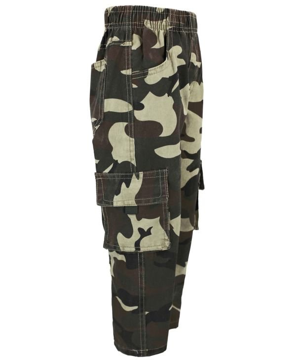 Kids Camouflage Multipocket Trousers Boys Army Print Pants
