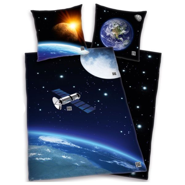 Outer Space Satellite Duvet Cover Solar System Bedding 100 Cotton