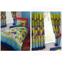 DIGGERS DUVET COVER SET IN SINGLE, MATCHING LINED CURTAINS ...