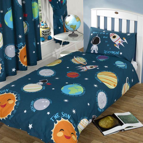 Solar System Single Duvet Cover Set Boys Spaceman Bedding Outer Space