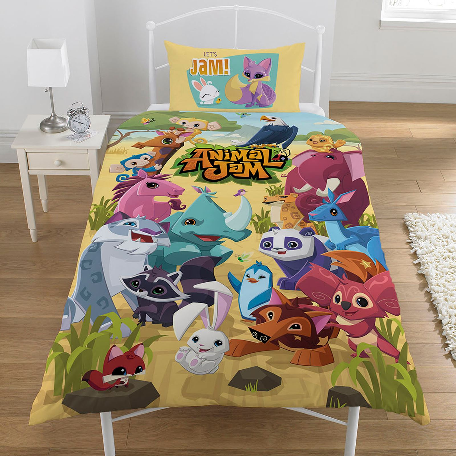 desk and chair animal jam covers rental chicago jungle themed duvet kids childrens animals single