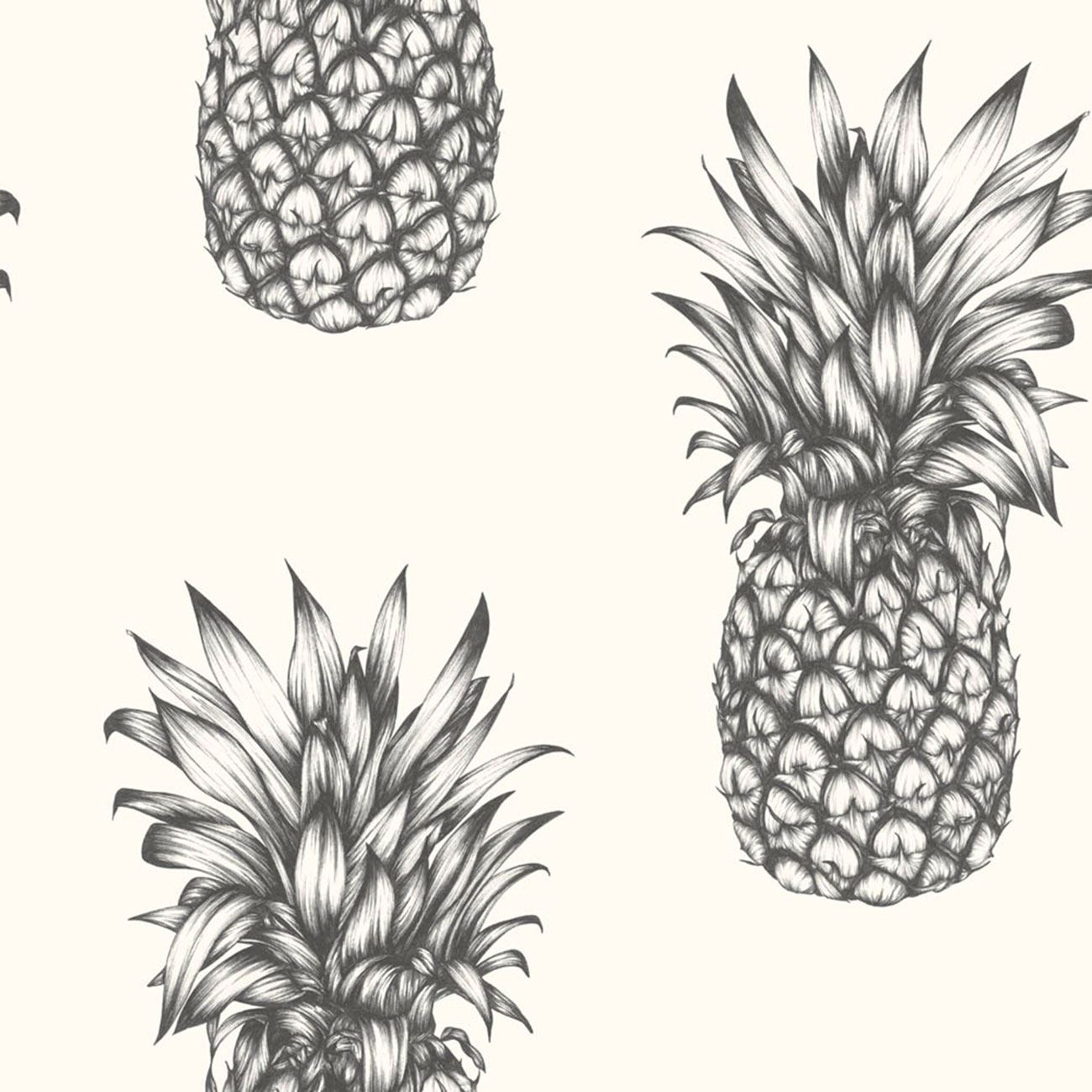 Tropics Copacabana Pineapple Wallpaper Rolls Black White