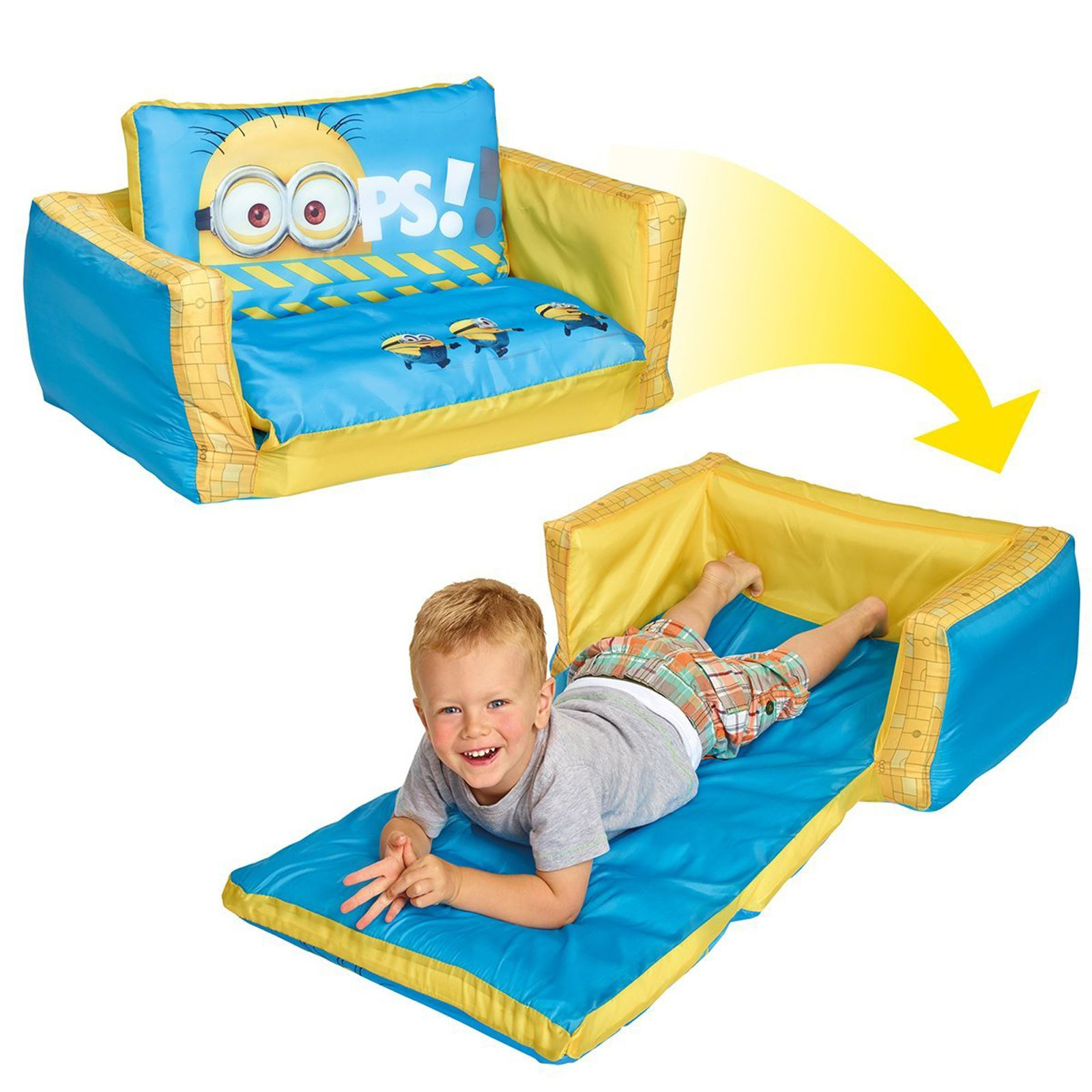 inflatable sofa bed the range white microfiber sectional flip out kids room new minions