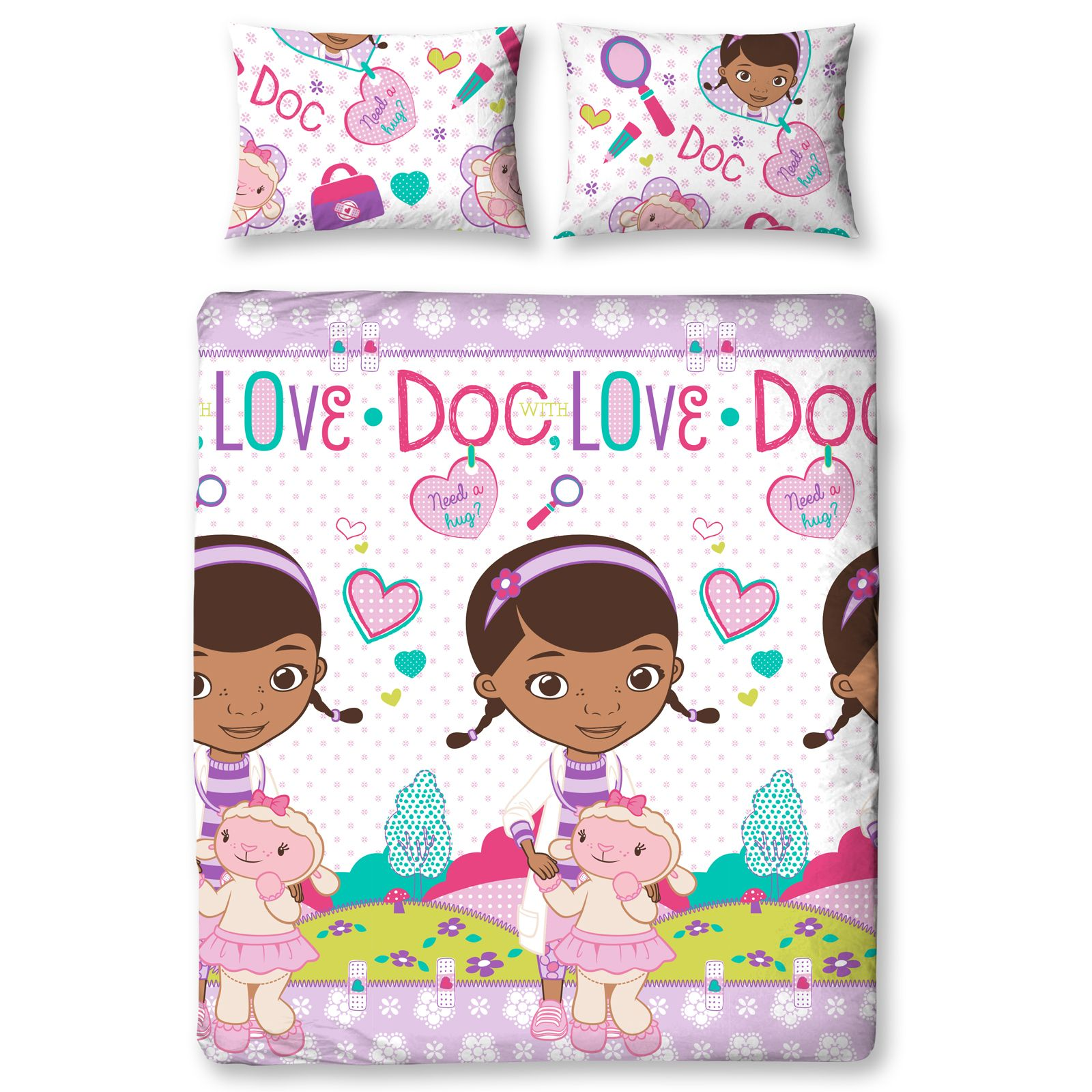 doc mcstuffins upholstered chair uk keter high review bedding single and double duvet cover sets