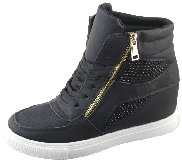 04e16207b ... Womens Wedge Trainers Ladies Ankle Boots Sneakers Girl High Top Shoes  ...