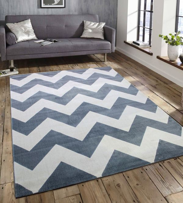 Teal Blue and Gray Modern Area Rugs