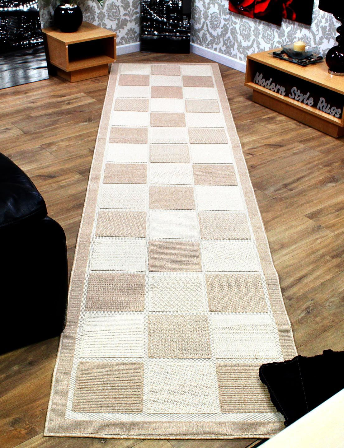 Checkered Brown or Cream Extra Long  Extra Wide Hallway Runner Rug 80x340cm  eBay