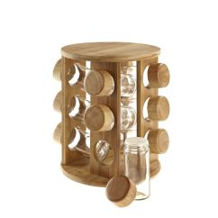 Revolving Spice Racks For Kitchen Luxury Faucets Wooden Rotating Bamboo Rack Glass Jars