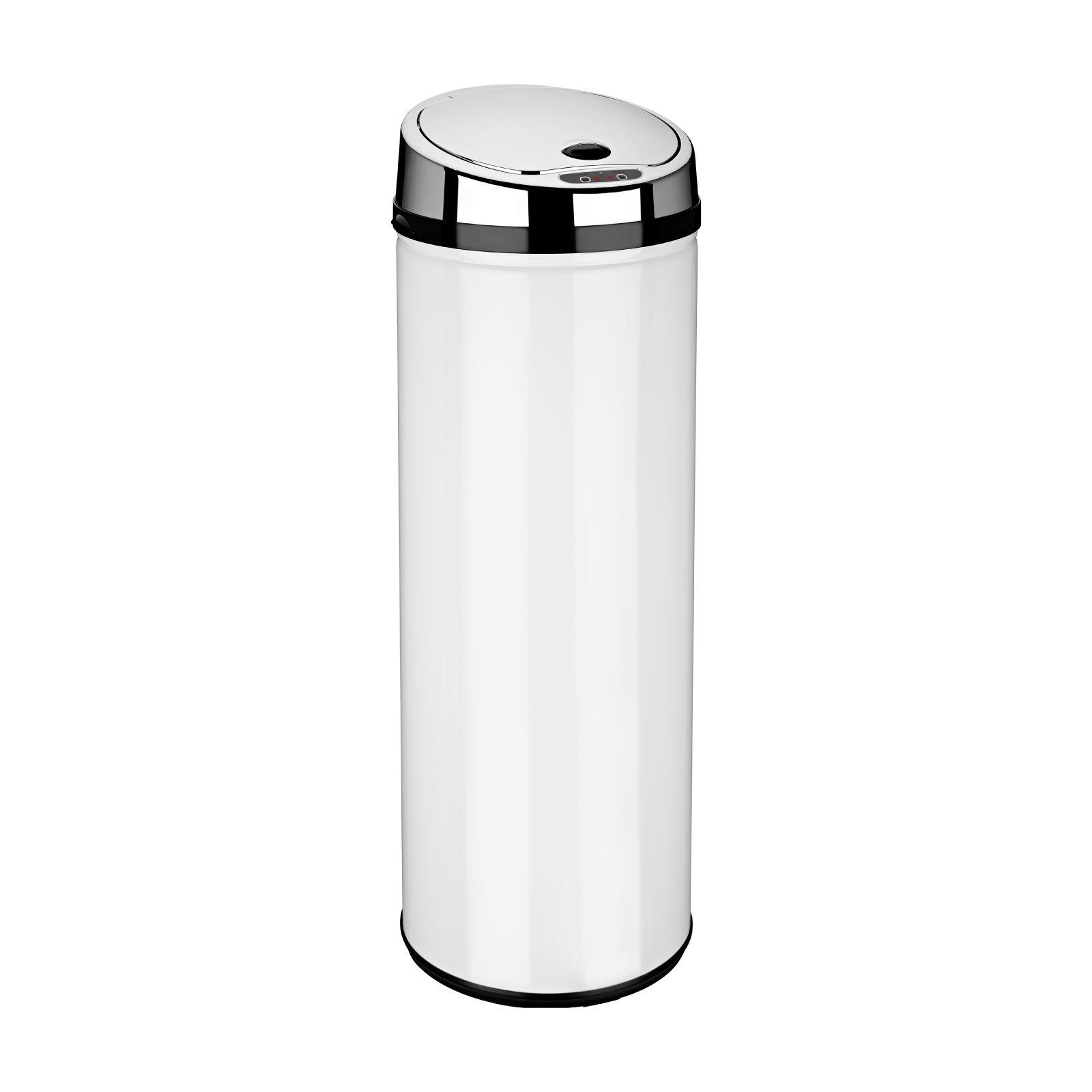 red kitchen trash can walnut table round white black silver steel sensor waste