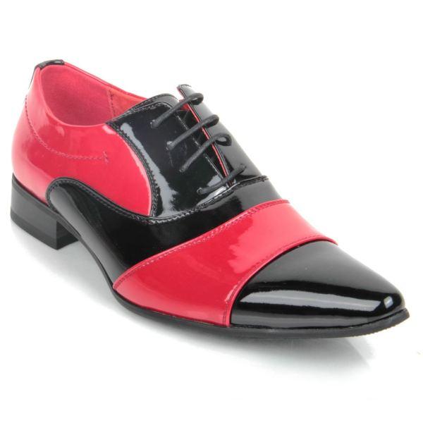 Men Gent Smart Patent Two Tone Vintage Party Shoe Black