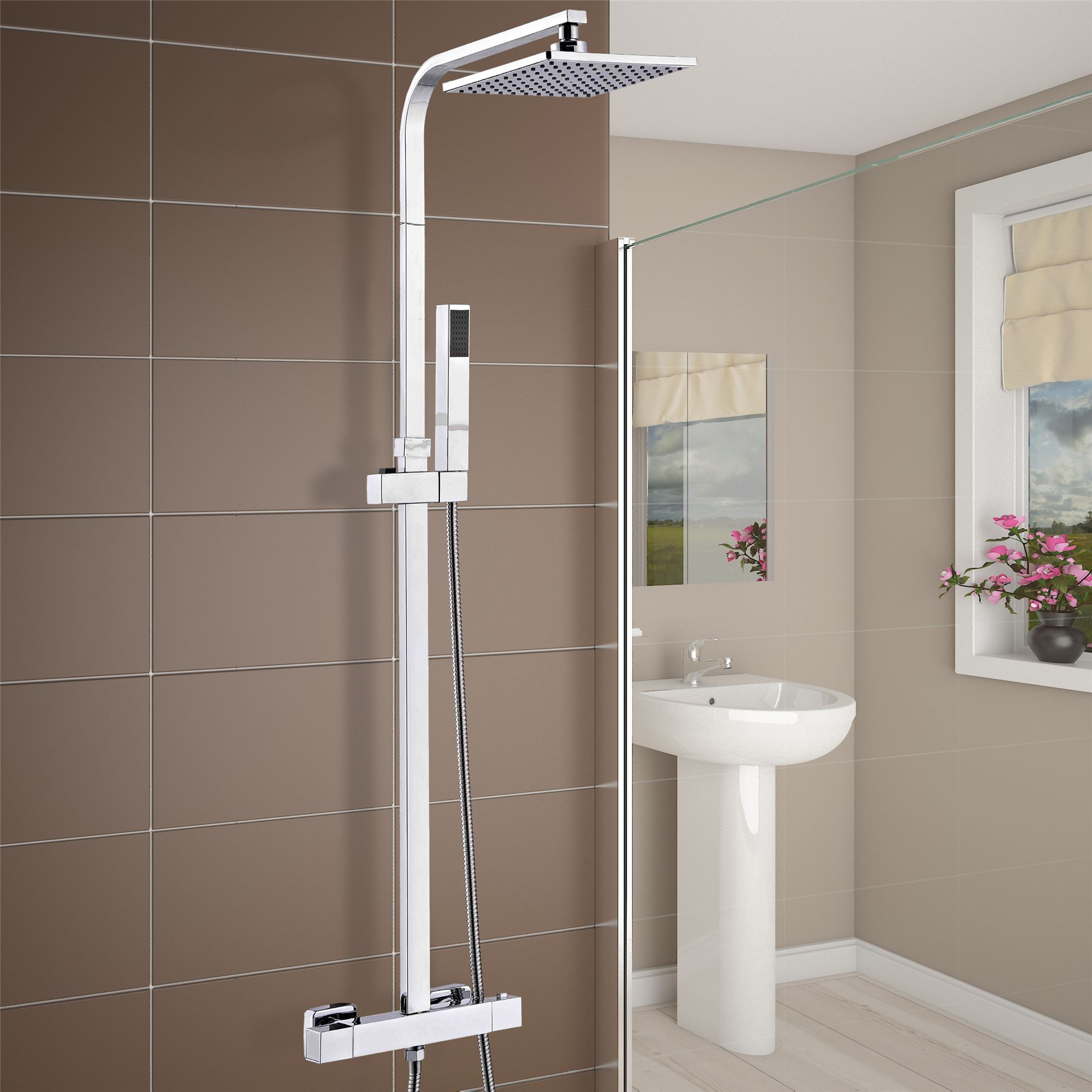 Modern Square Thermostatic Twin Head Shower Mixer Exposed