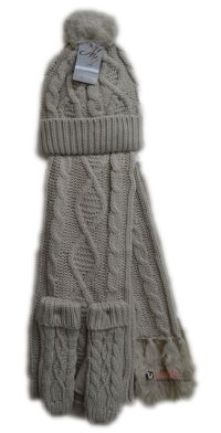 Womens Ladies Woolly Thick Knit Hat Scarf And Gloves ...