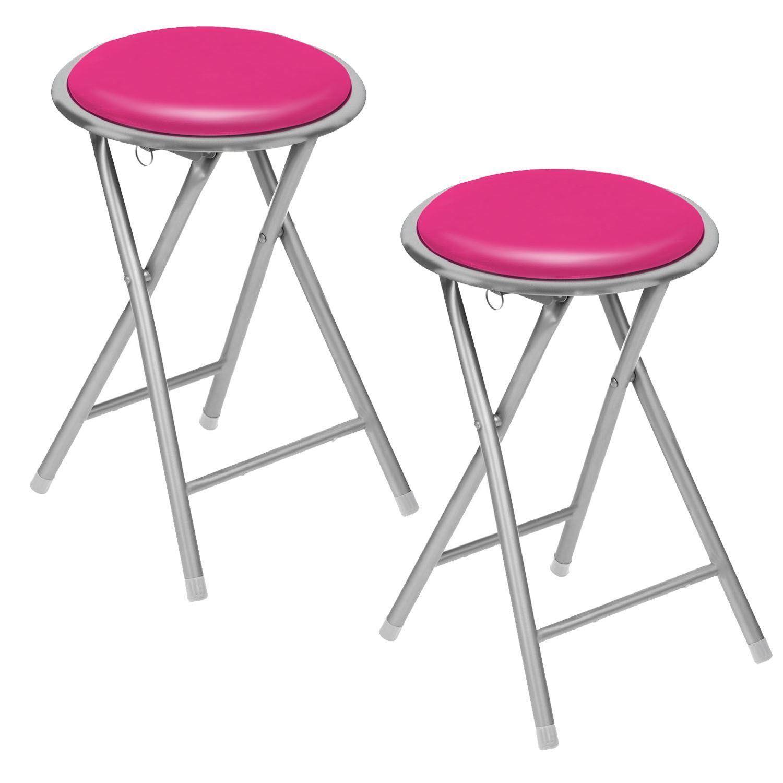 folding chair round revolving in kolkata set of 2 pink soft padded stool seat