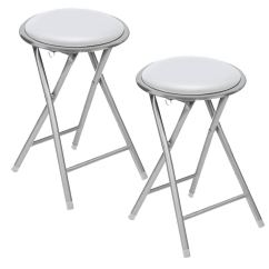 Round Fold Up Chair Dining Room Covers At Ikea New Set Of 2 White Soft Padded Folding Stool Seat