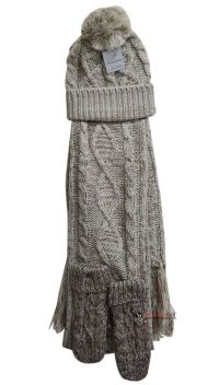 Womens Ladies Woolly Thick Knit Hat Scarf And Gloves