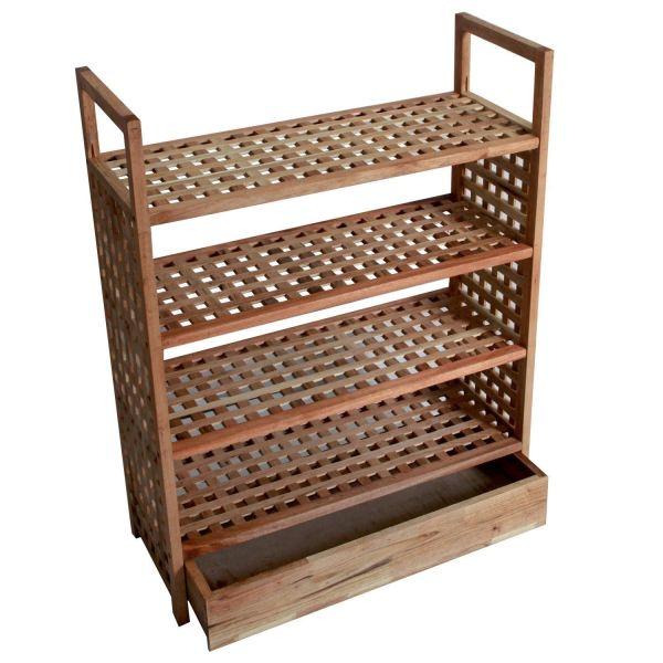 4 Tier Walnut Wooden Shoe Rack Storage Shelf With Integrated Bottom Draw