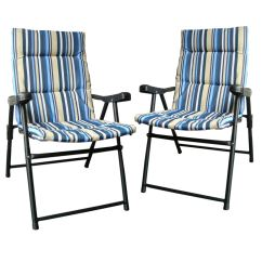 Two Seater Folding Lawn Chair Arm Chairs Set Of 2 Padded Outdoor Garden Camping Picnic