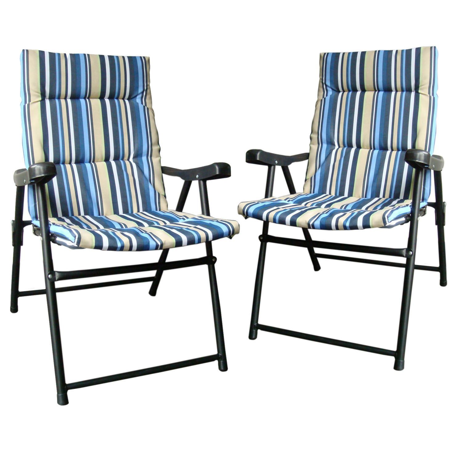 Picnic Chair Set Of 2 Padded Folding Outdoor Garden Camping Picnic