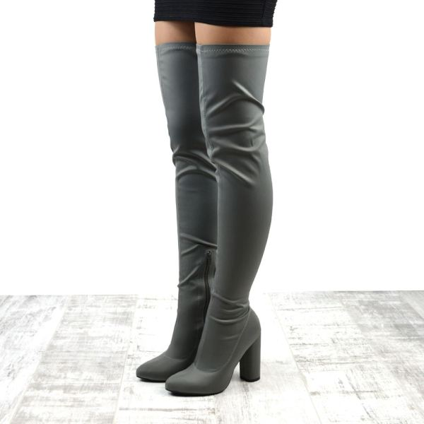 Womens Thigh High Heel Stretch Ladies Over