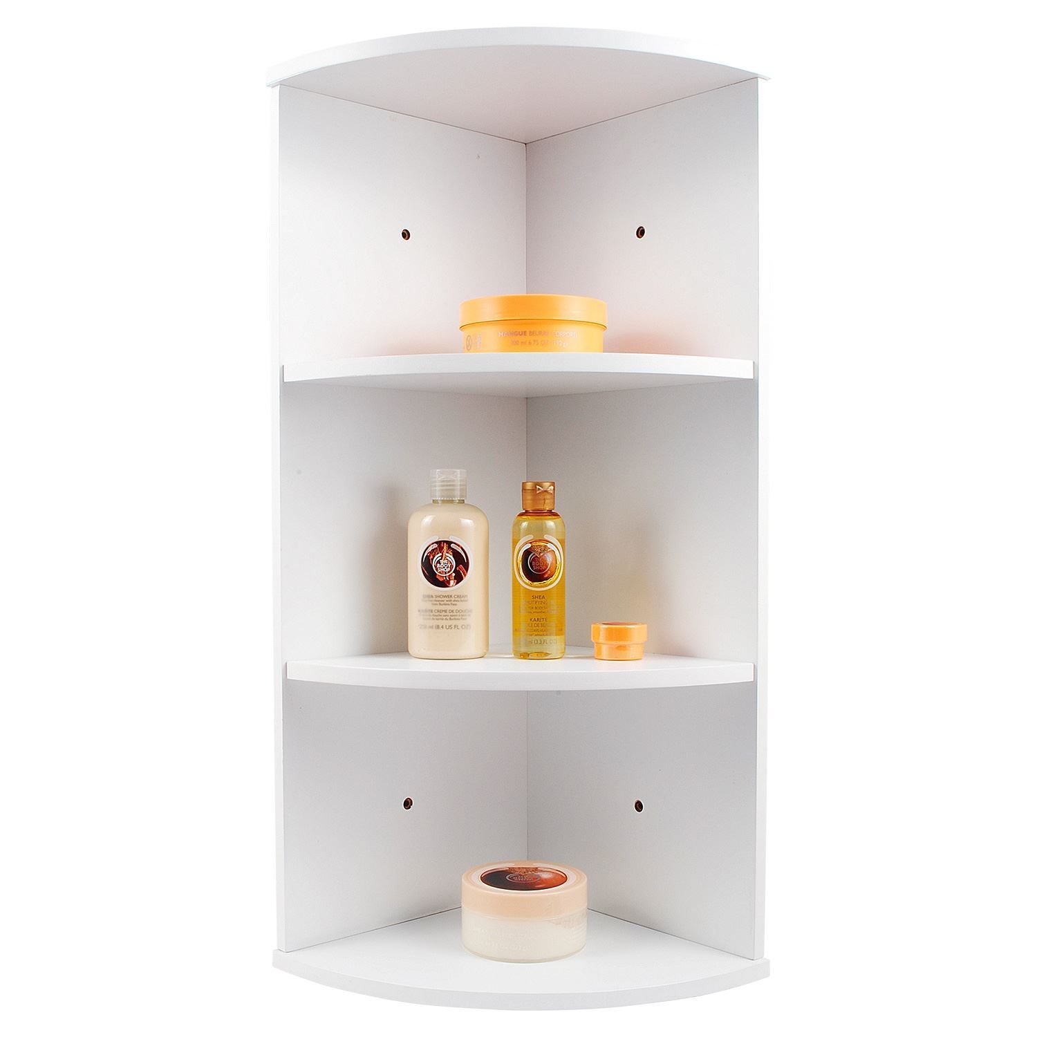 WHIITE WOODEN 3 TIER CORNER WALL MOUNTED BATHROOM STORAGE SHELVING UNIT  eBay