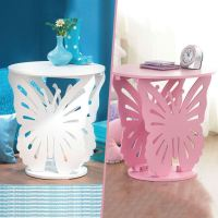 CHILDRENS KIDS WOODEN ROUND BUTTERFLY LAMP BEDSIDE SIDE ...