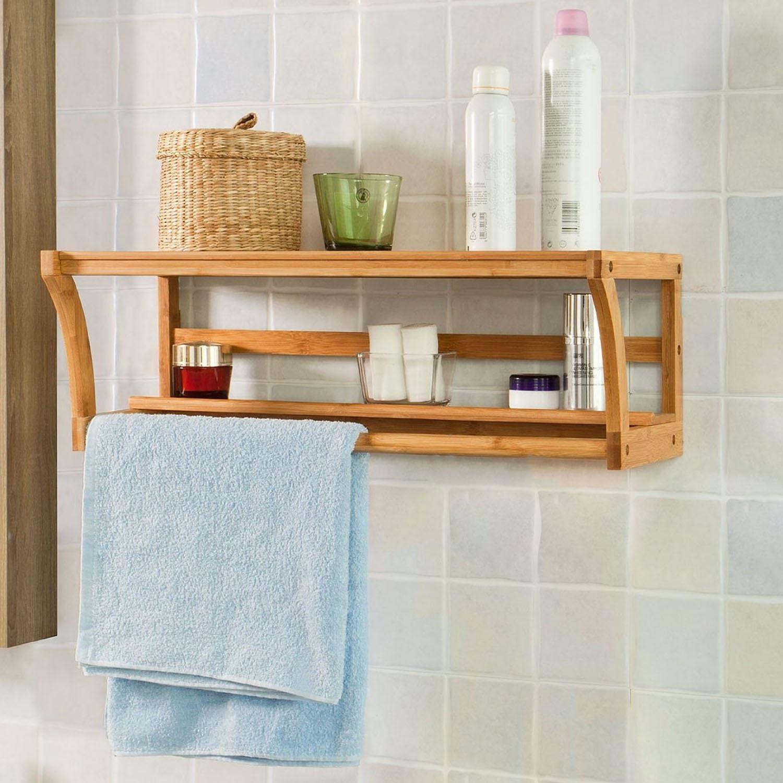 Bathroom Wall Mounted Bamboo Wood Shelf Rack Towel Rail