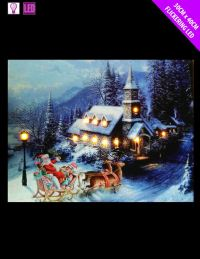 *LED LIGHT UP HANGING CANVAS PICTURE XMAS CHRISTMAS SCENE ...