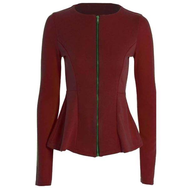 Ladies Womens Peplum Zip Tailored Blazer Ruffle Frill