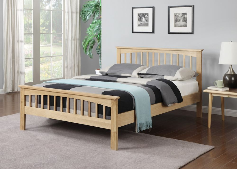 Happy Beds Saunton Wooden Bed Oak Finished Shaker Style