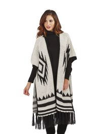 Womens Ladies Knitted Cape Wrap Winter Tartan Check ...