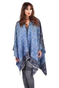 Womens Ladies Knitted Autumn Winter Tartan Check Blanket ...