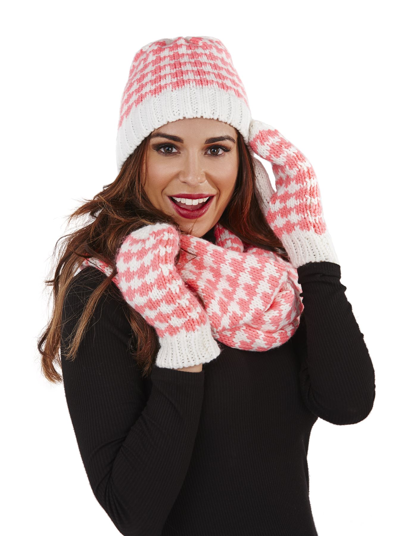 Ladies Womens Knitted Gloves Mittens Beanie Hat Snood