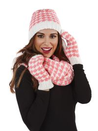 Ladies Womens Knitted Gloves Mittens Beanie Hat Snood ...