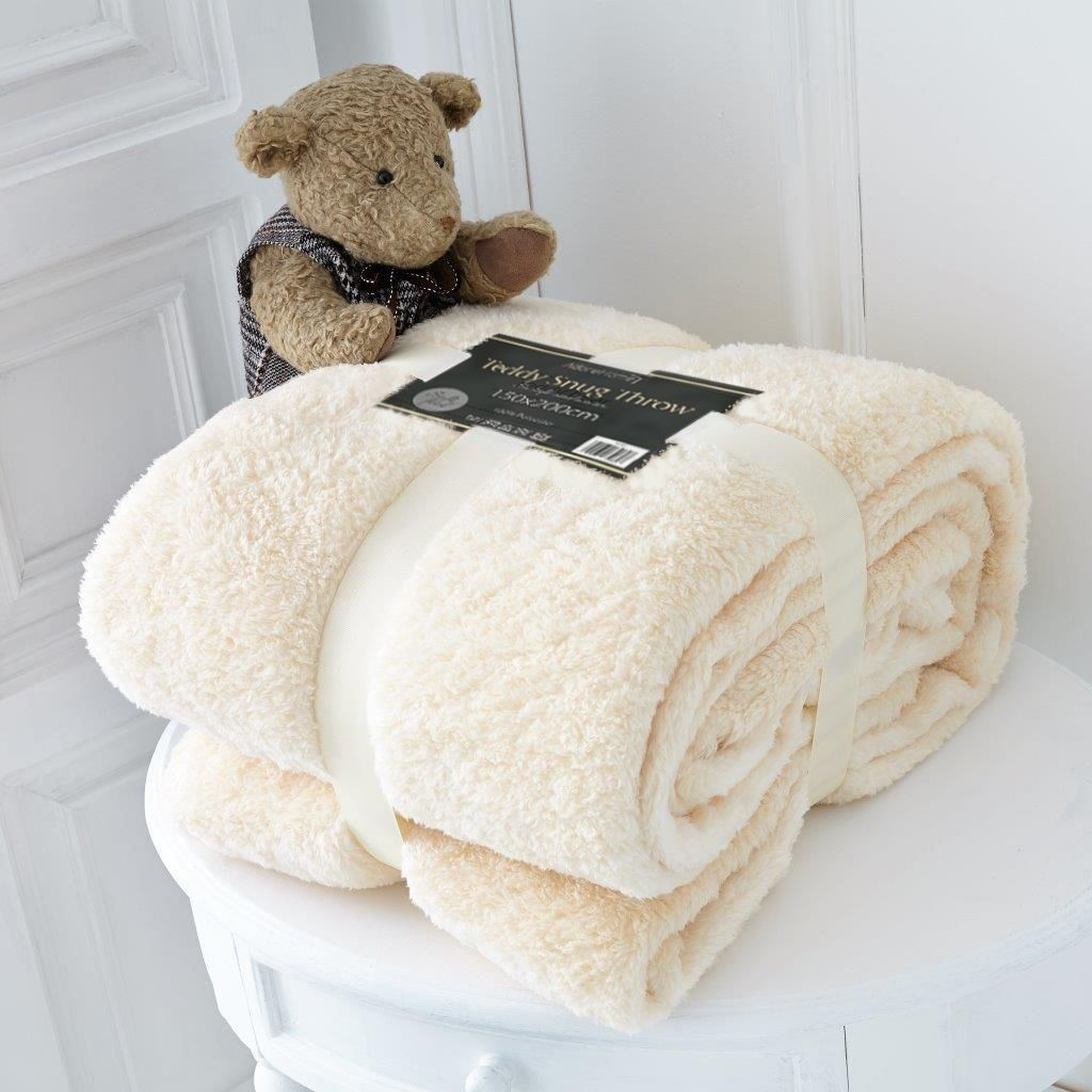 cream sofa throws extra deep sectional luxury double size soft fleece blanket teddy bear