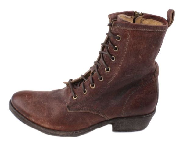 Frye Carson Lug Lace Womens Dark Brown Stone Antique Leather Boots Size 7