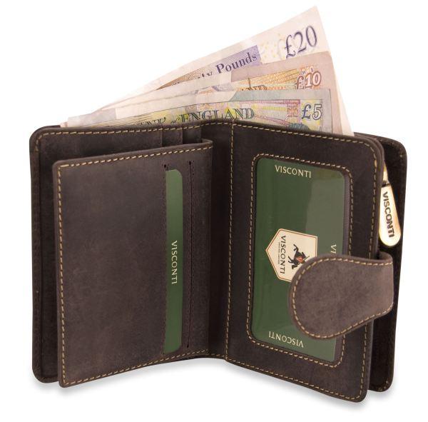 Visconti Ladies Large Distressed Genuine Leather Wallet