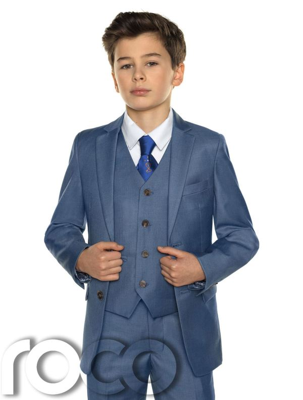 Boys Chambray Suit Holy Communion Blue