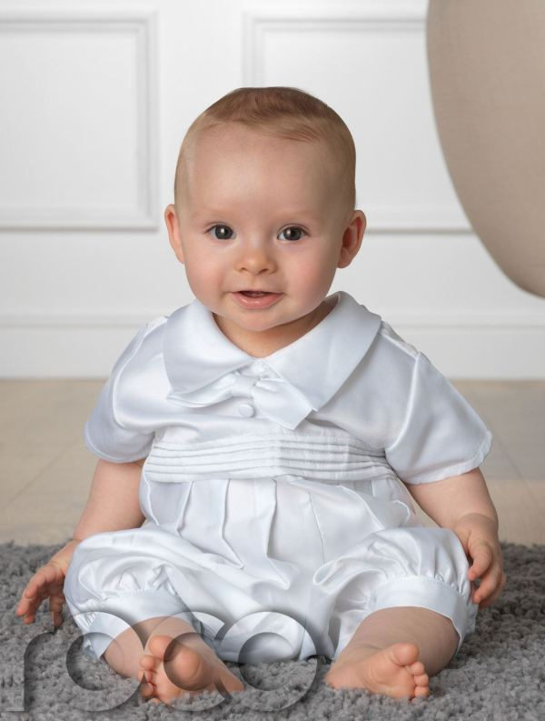 Baby Boys Christening Outfit White Romper Suit & Blue Rompers