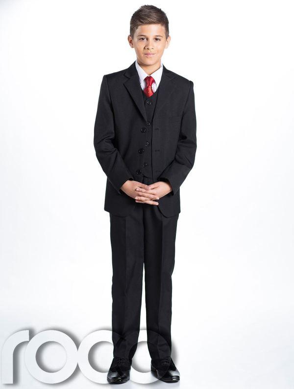 Boys Black Suit Communion Chalice Tie