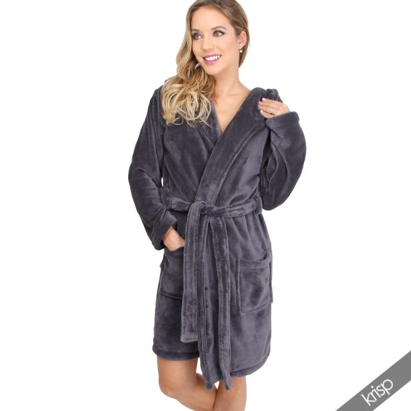 Womens Soft Plain Basic Dressing Gown Hooded Bath Robe Nightwear House Coat