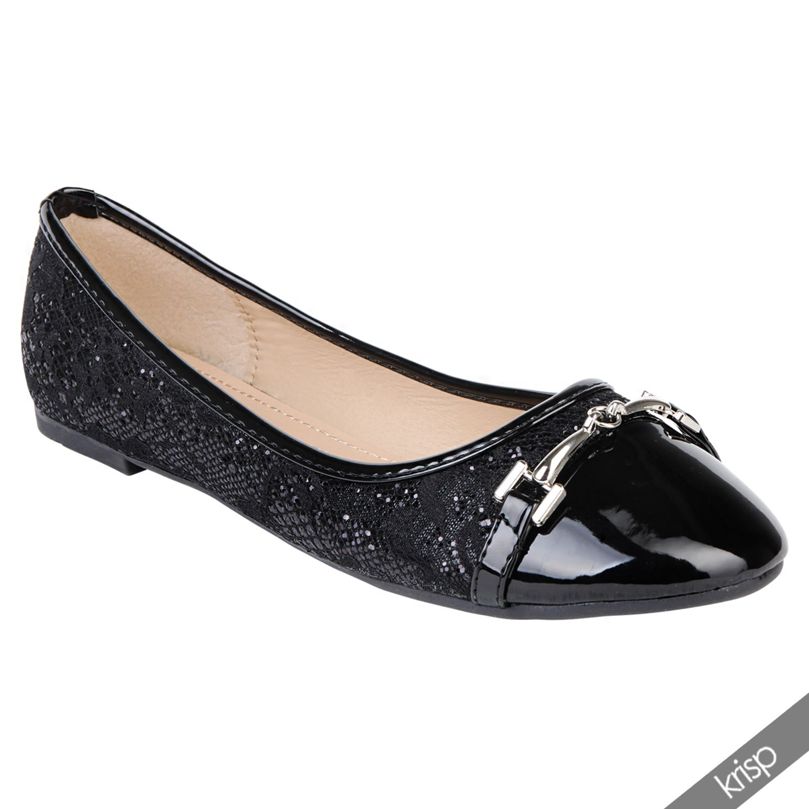 Womens Black Floral Lace Ballet Flats Gold Embroidered