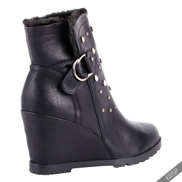 Women Fur Lined Studded Wedge Ankle Boots High Heel Ladies