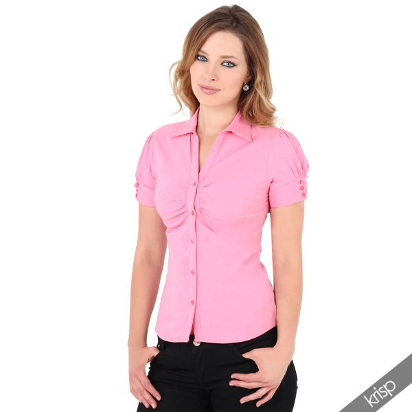 Womens Ruched Front Puff Sleeve Poplin Shirt Stretch