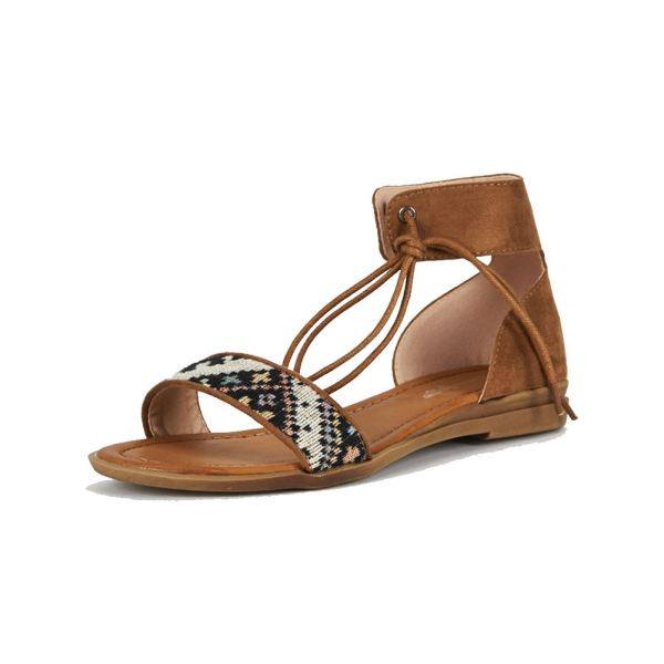 Suedette Flat Sandals With Tapestry Strap And Tie Ankle
