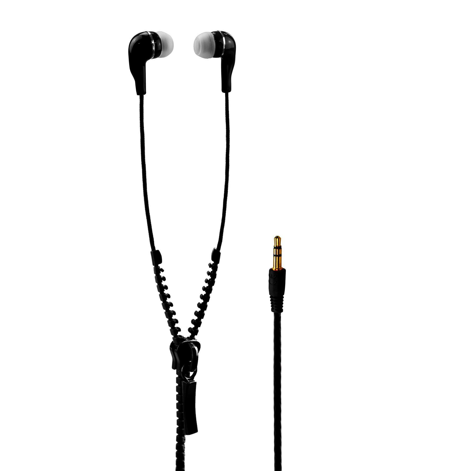 In Ear Zip Zipper Stereo Handsfree Tangle Free Headphone