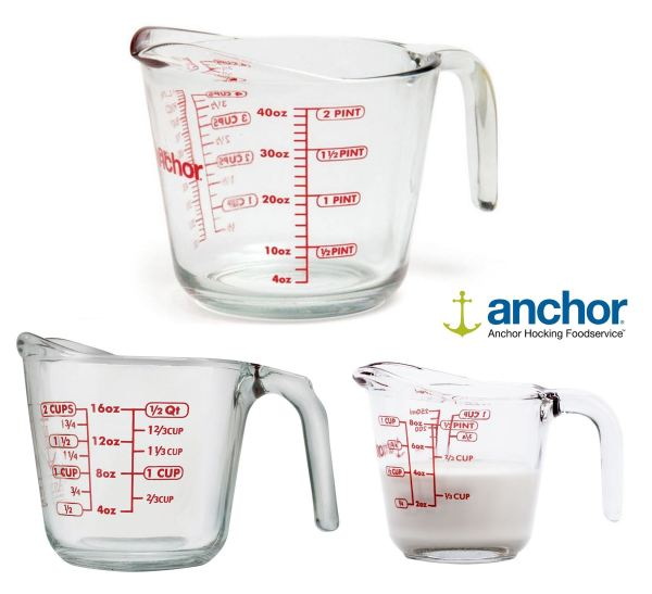 Anchor Hocking Glass Measuring Jugs Cups 0.5 1 2 Pints 250ml 500ml 1l