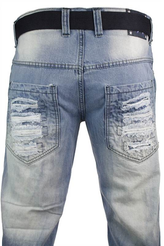 Mens Light Blue Ripped Jeans